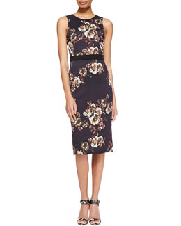 Jason Wu Sleeveless Floral Crepe Sheath Dress