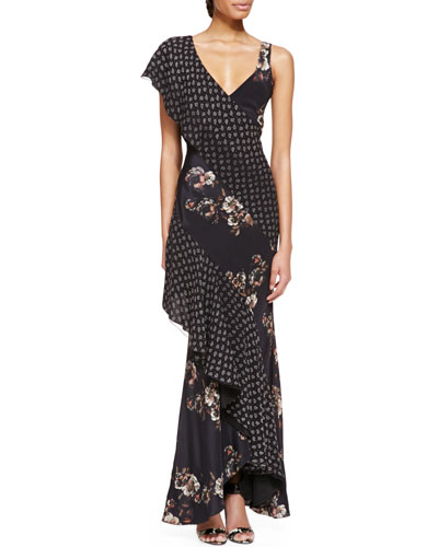 Jason Wu Combo Silk Bias Cascade Gown, Multicolor