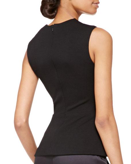 Sleeveless Ponte Jersey Twist Top, Black