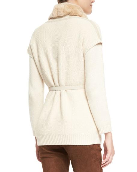 Paris Belted Chinchilla Fur-Trim Baby Cashmere Vest