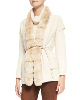 Loro Piana Paris Belted Chinchilla Fur-Trim Baby Cashmere Vest