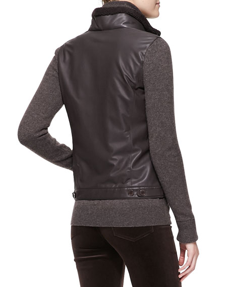 Central Park Leather Bomber Jacket with Cashmere Sleeves