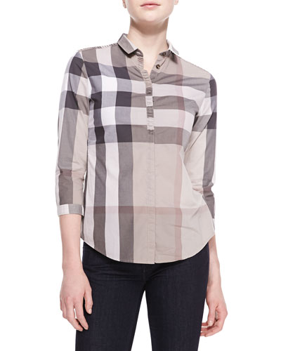Burberry Brit Poplin Check Button-Up Top, Pale Trench