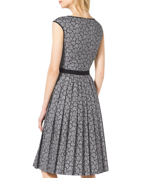 Solid-Trim Pleated Lace Dress