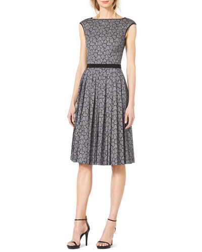 Michael Kors  Solid-Trim Pleated Lace Dress