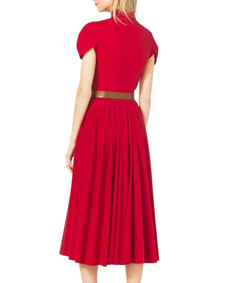 Twist-Sleeve Pleated Dress