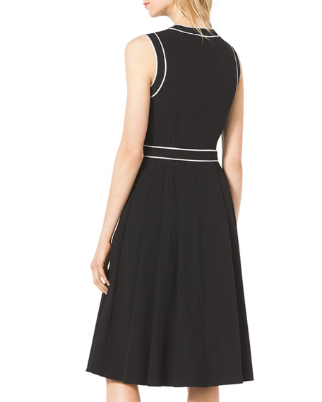 Contrast-Trim Stretch-Cotton Dress
