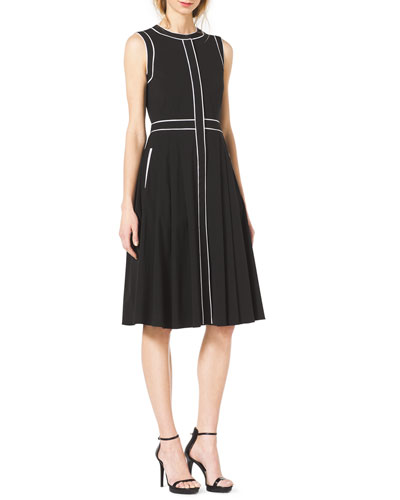 Michael Kors  Contrast-Trim Stretch-Cotton Dress