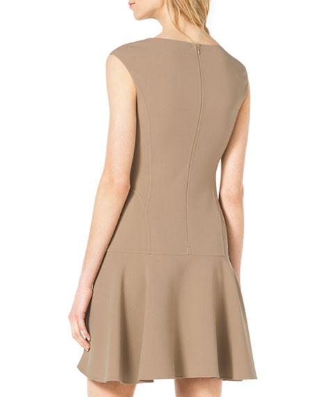 Drop-Skirt Cap-Sleeve Crepe Dress