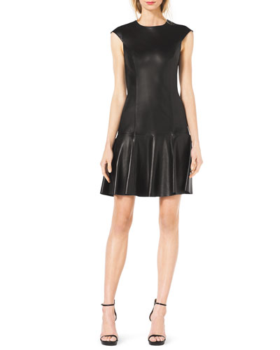 Michael Kors  Drop-Skirt Cap-Sleeve Leather Dress