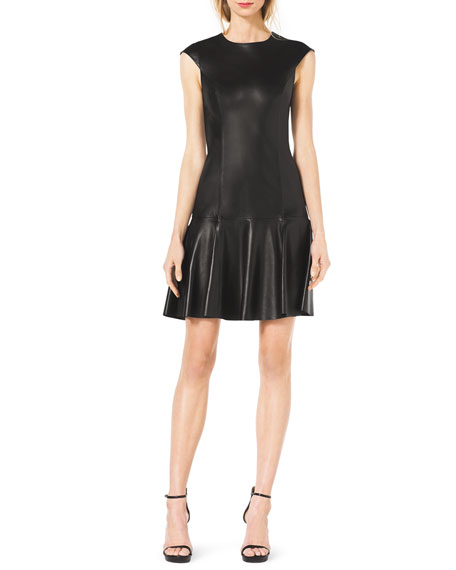 Drop-Skirt Cap-Sleeve Leather Dress