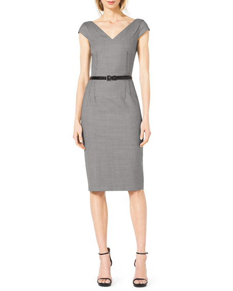 Houndstooth Belted V-Neck Suit Dress