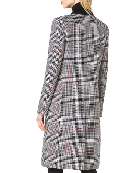 Plaid Double-Breasted Wool Coat