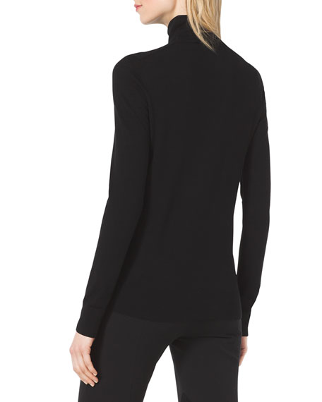 Ruffle-Front Wool Turtleneck
