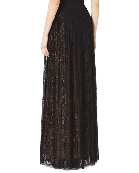 Paisley Lace Pleated Maxi Skirt