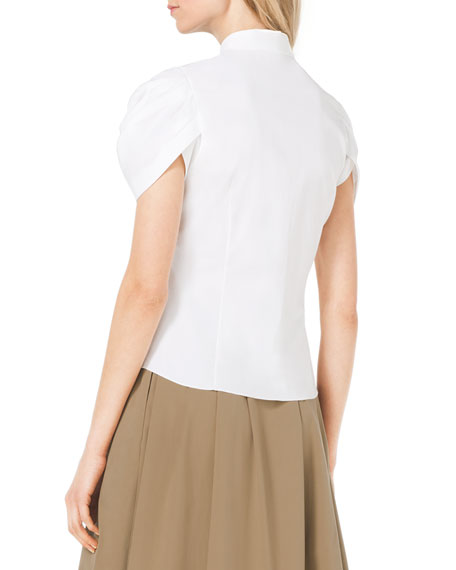 Twist-Sleeve Stretch-Cotton Blouse