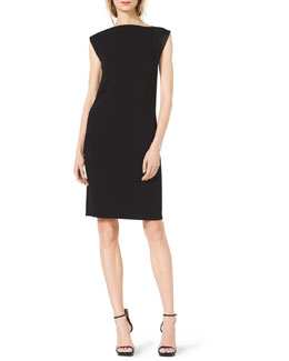 Michael Kors  Leather-Trim Cap-Sleeve Dress
