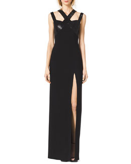 Michael Kors  Sequined Cross-Neck Slit Gown