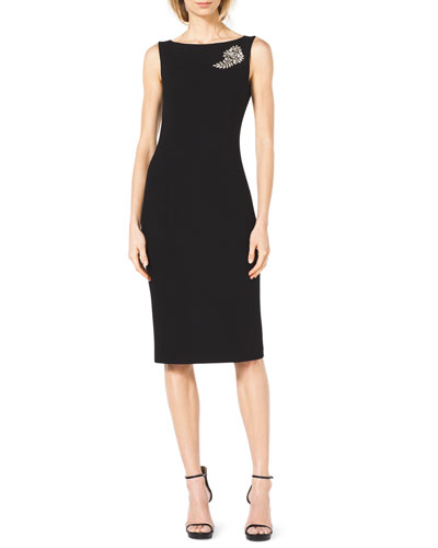 Michael Kors  Stretch-Wool Dress with Brooch