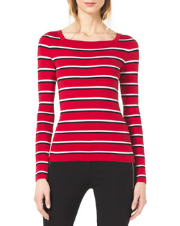 Michael Kors  Striped Square-Neck Sweater