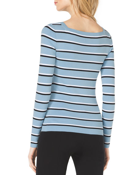 Striped Square-Neck Sweater