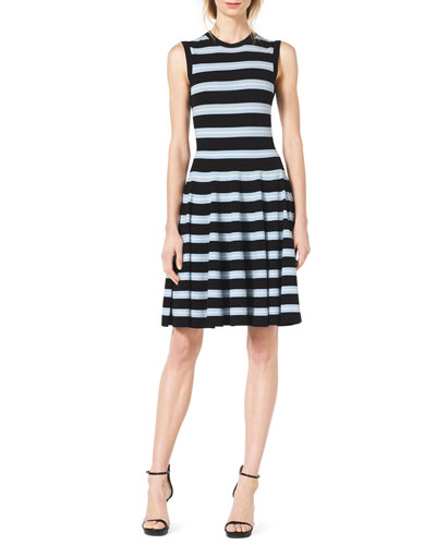 Michael Kors  Sleeveless Striped Knit Dress