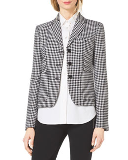 Michael Kors  Houndstooth Fitted Wool-Jacquard Blazer