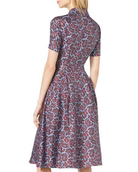 Paisley-Print Silk Shirtdress
