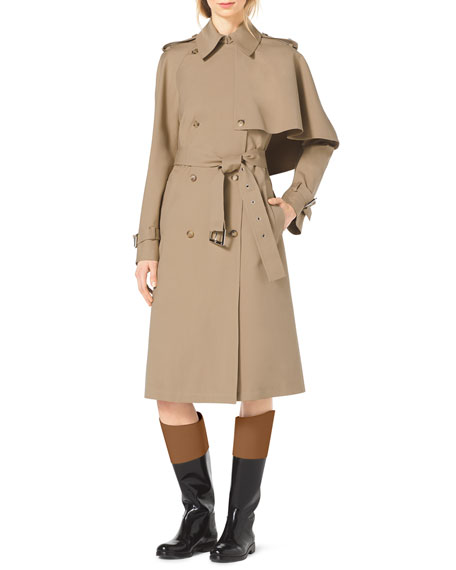 Cape-Side Stretch-Cotton Trenchcoat