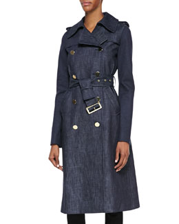 Derek Lam Long Denim Trench Coat