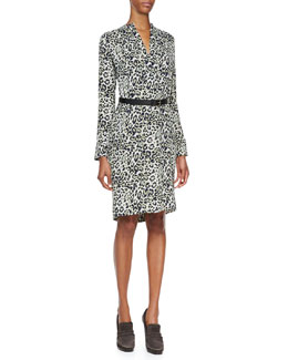 Derek Lam Long-Sleeve Animal-Print Silk Dress, Nile Blue/Multi