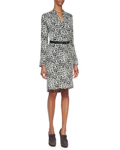 Derek Lam Long-Sleeve Animal-Print Silk Dress, Nile Blue/Multi