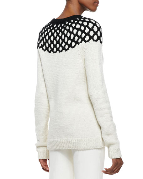 Long-Sleeve Net-Top Knit Sweater