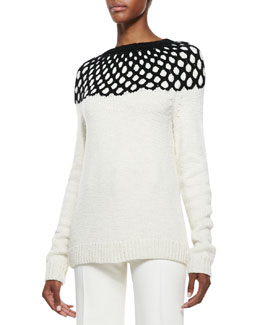 Derek Lam Long-Sleeve Net-Top Knit Sweater