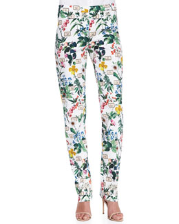 Carolina Herrera Botanical Printed Straight-Leg Pants
