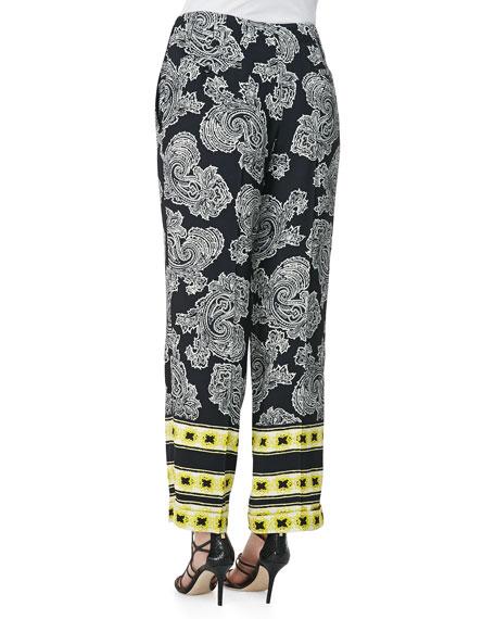 Stripe-Border Paisley Pants, Black/White/Gold