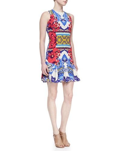Etro Sleeveless Hawaiian & Paisley Print Godette Dress, Multicolor