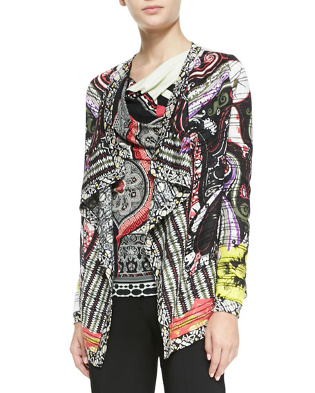 Hawaiian Paisley Sheer-Striped Cascade Cardigan