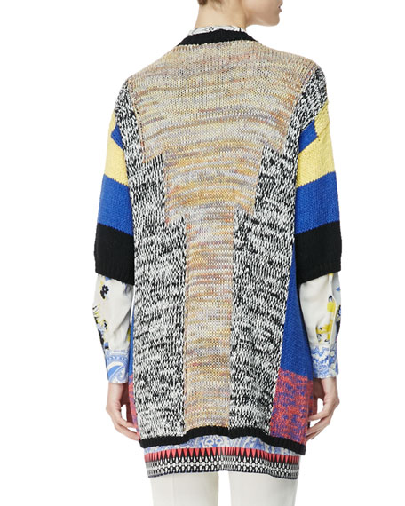 3/4-Sleeve Melange Colorblock Cardigan
