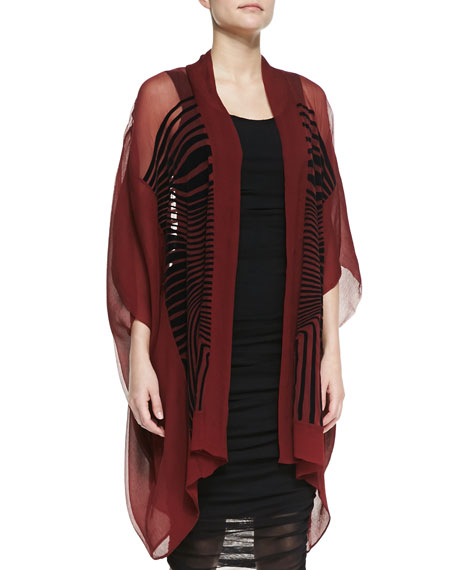 Oversized Velvet-Striped Cardigan, Rust