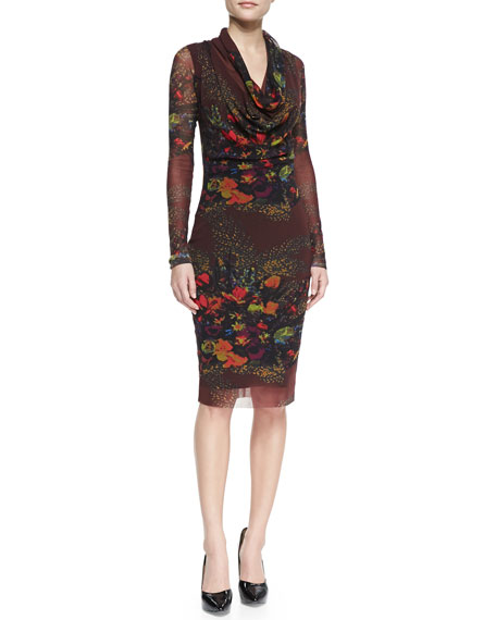 Long-Sleeve Cowl-Neck Floral-Print Dress, Brown/Multi