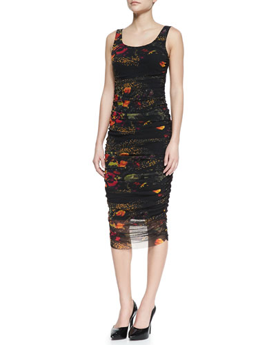 Jean Paul Gaultier Sleeveless Floral-Printed Fitted Dress, Black/Multicolor