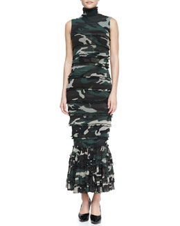 Jean Paul Gaultier Sleeveless Tiered Camo Maxi Dress, Green/Multi