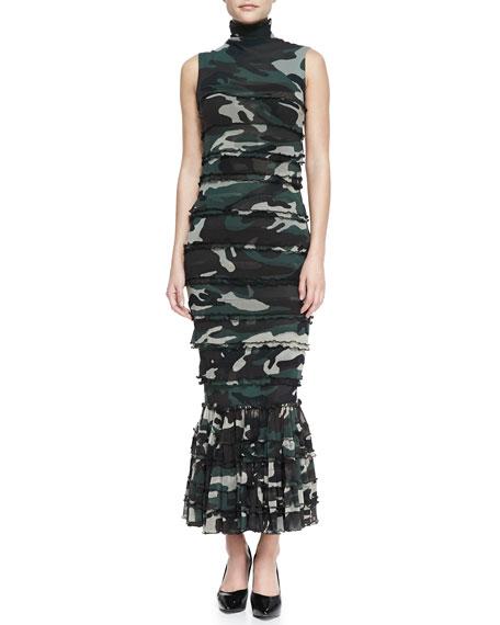 Sleeveless Tiered Camo Maxi Dress, Green/Multi