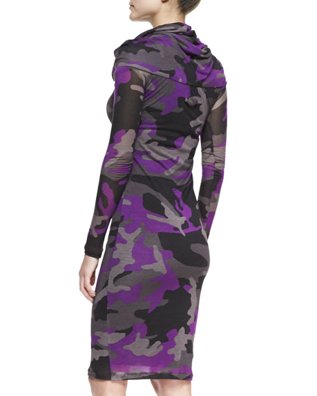 Long-Sleeve Camo Knit Dress, Magenta/Multi