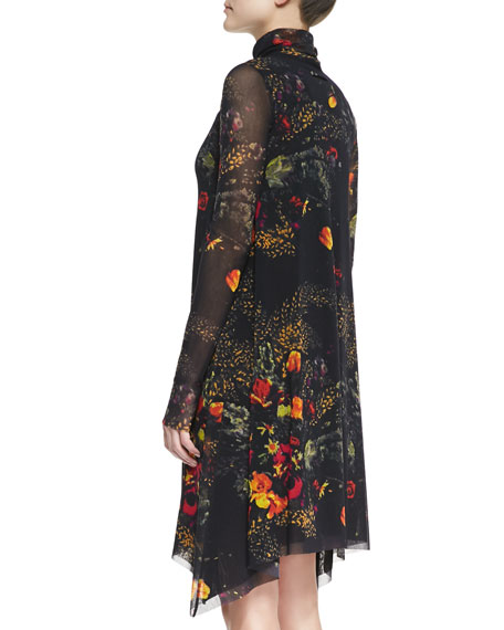 Long-Sleeve Turtleneck Floral-Print Dress, Brown/Multi