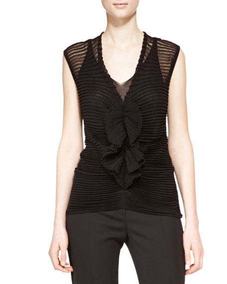 Sheer Ruffle-Center Blouse, Black