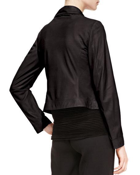 Leather Ruffle-Front Jacket, Black