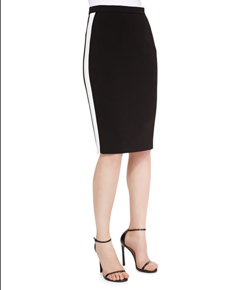 Escada Pencil Skirt with Racing Stripe, Black/White