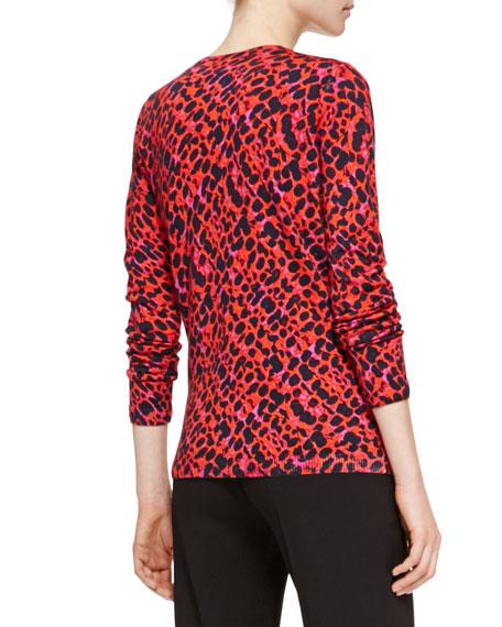 Fantasy Patterned Cardigan Sweater, Multicolor